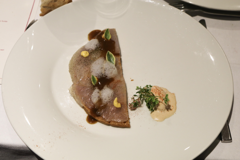 Tarte fine - Poisson de roche, crabe et sorbet dépister